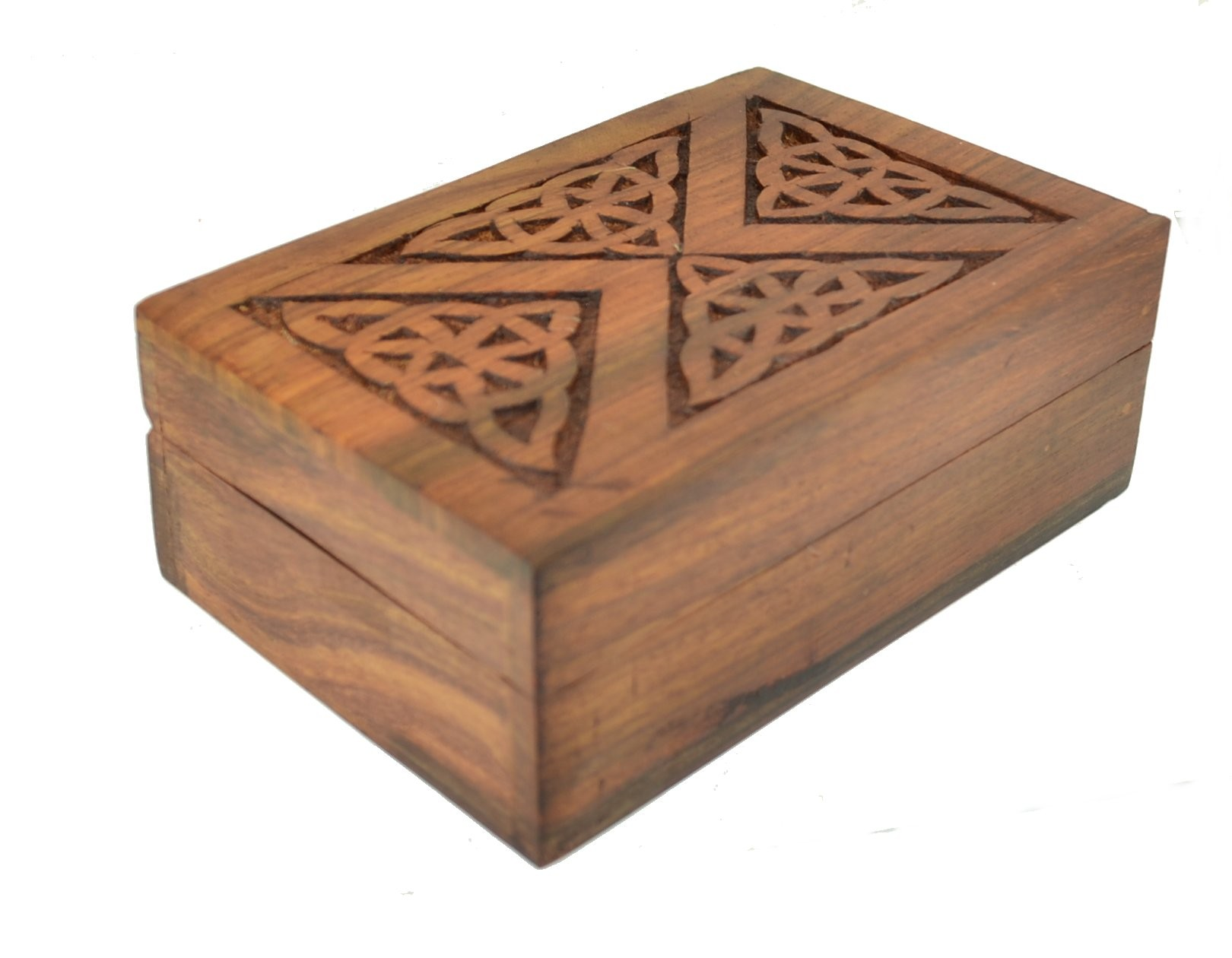 Wooden tarot card box decorative celtic triangle lid for Decorative tarot cards