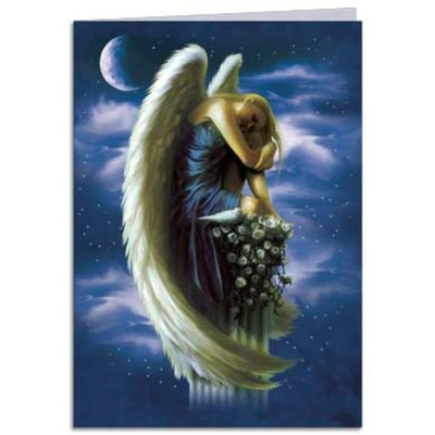 angel on a pedestal tree free greetings card  mystic wish, Greeting card