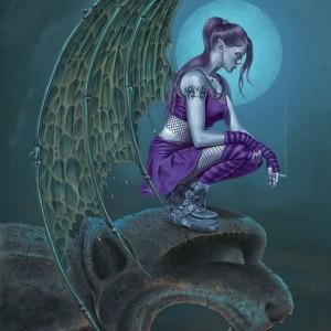 succubus moon pagan greetings card