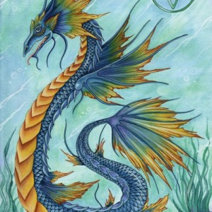 water dragon greetings card by