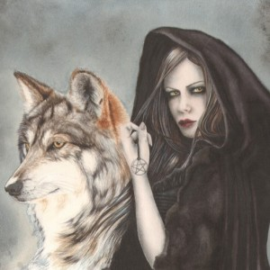 witch wolf greetings card