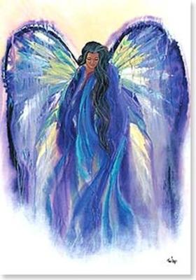 angels watching greetings card