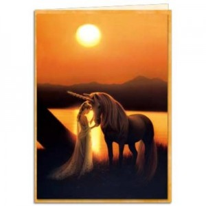 enchanted evening unicorn greetings card