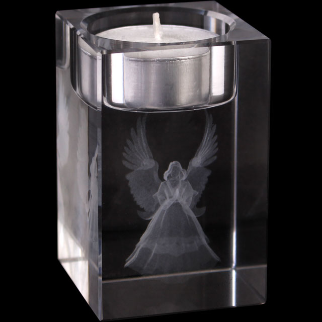 Glass Guardian Hologram Tealight Candle Holder Mystic Wish