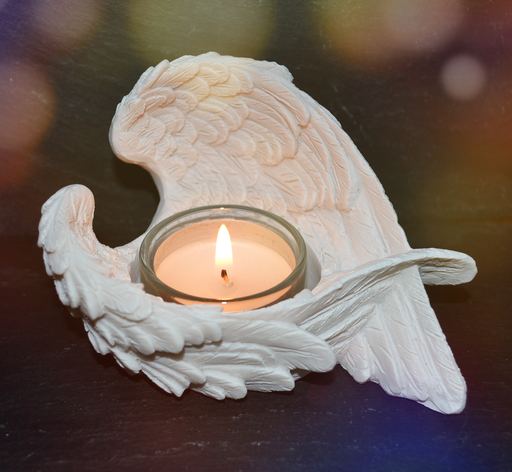 Cream Angel Wings Candle Holder Mystic Wish