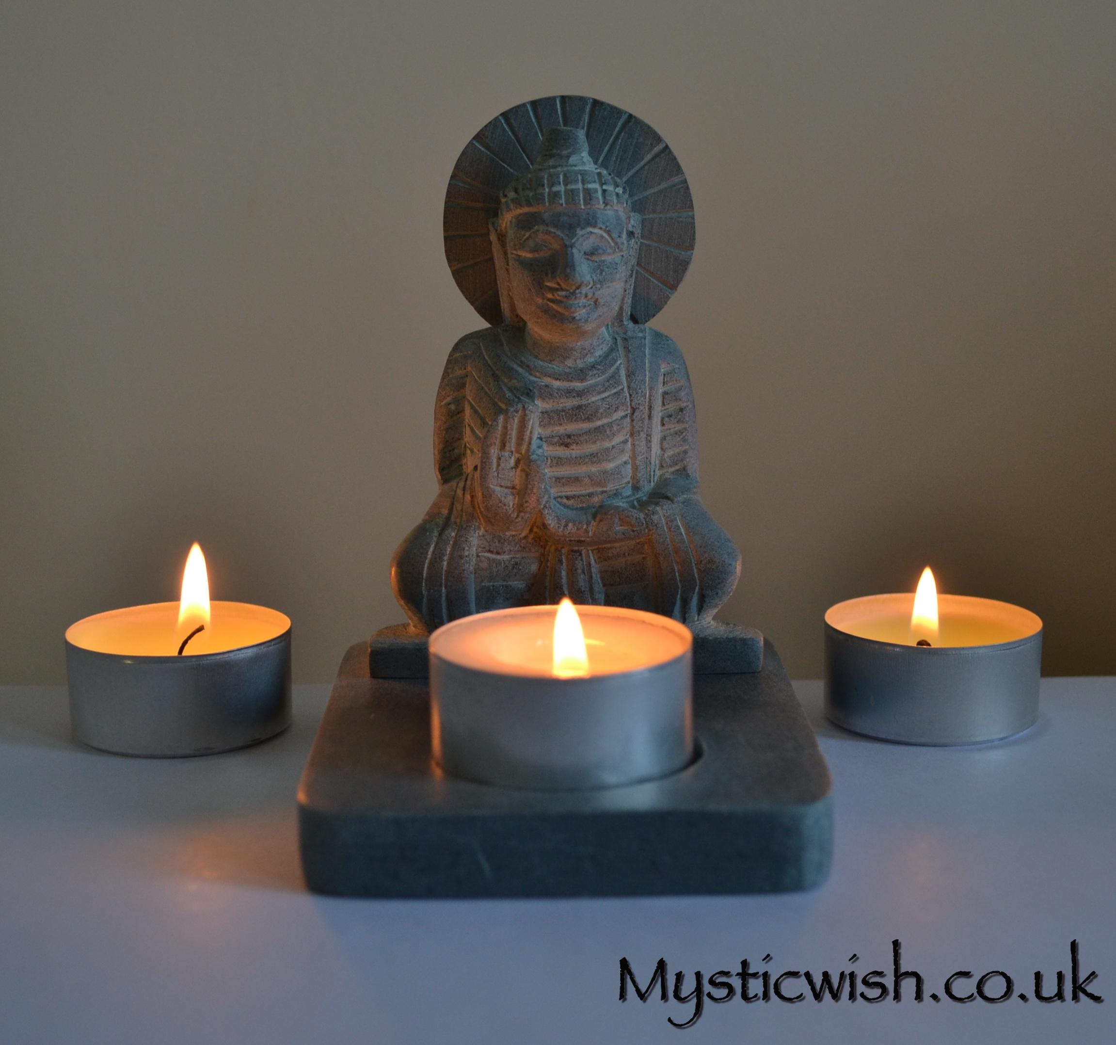 Buddha Tea Light Holder Soapstone Mystic Wish