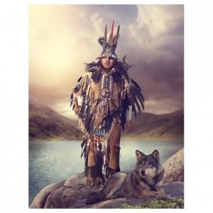 spirit path wolf greetings card
