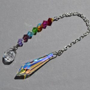 multi coloure crystal pendulum