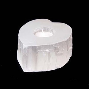 selenite heart tealight holder