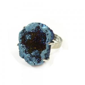cobalt aura saharan druzy geode