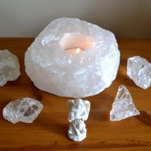 clear snow quartz tealight holder
