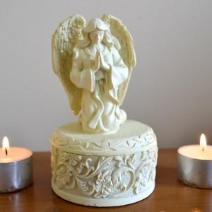 trinket box with praying angel