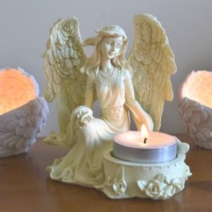 candle holder angel rose
