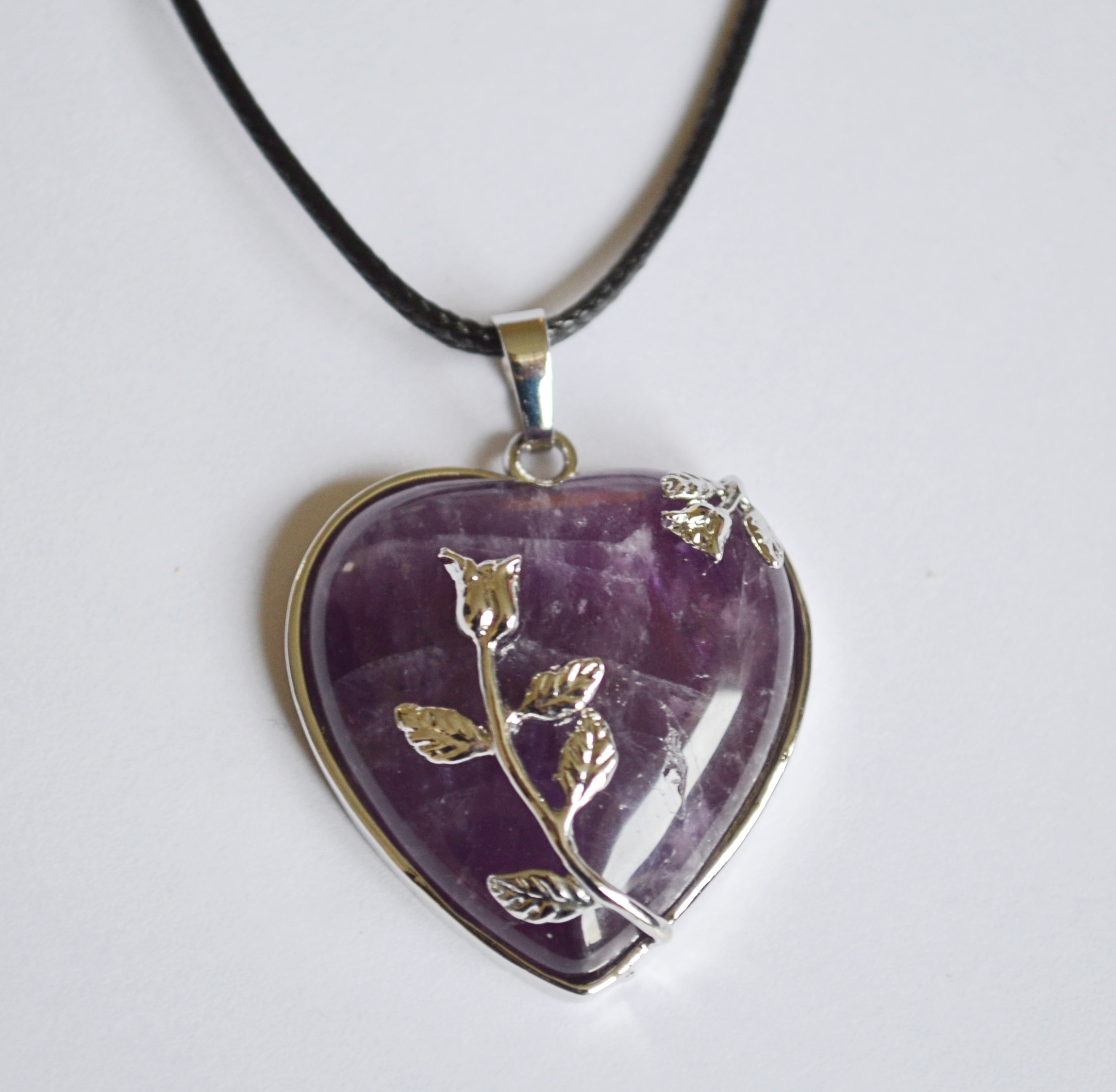 amethyst heart rose pendant necklace mystic wish