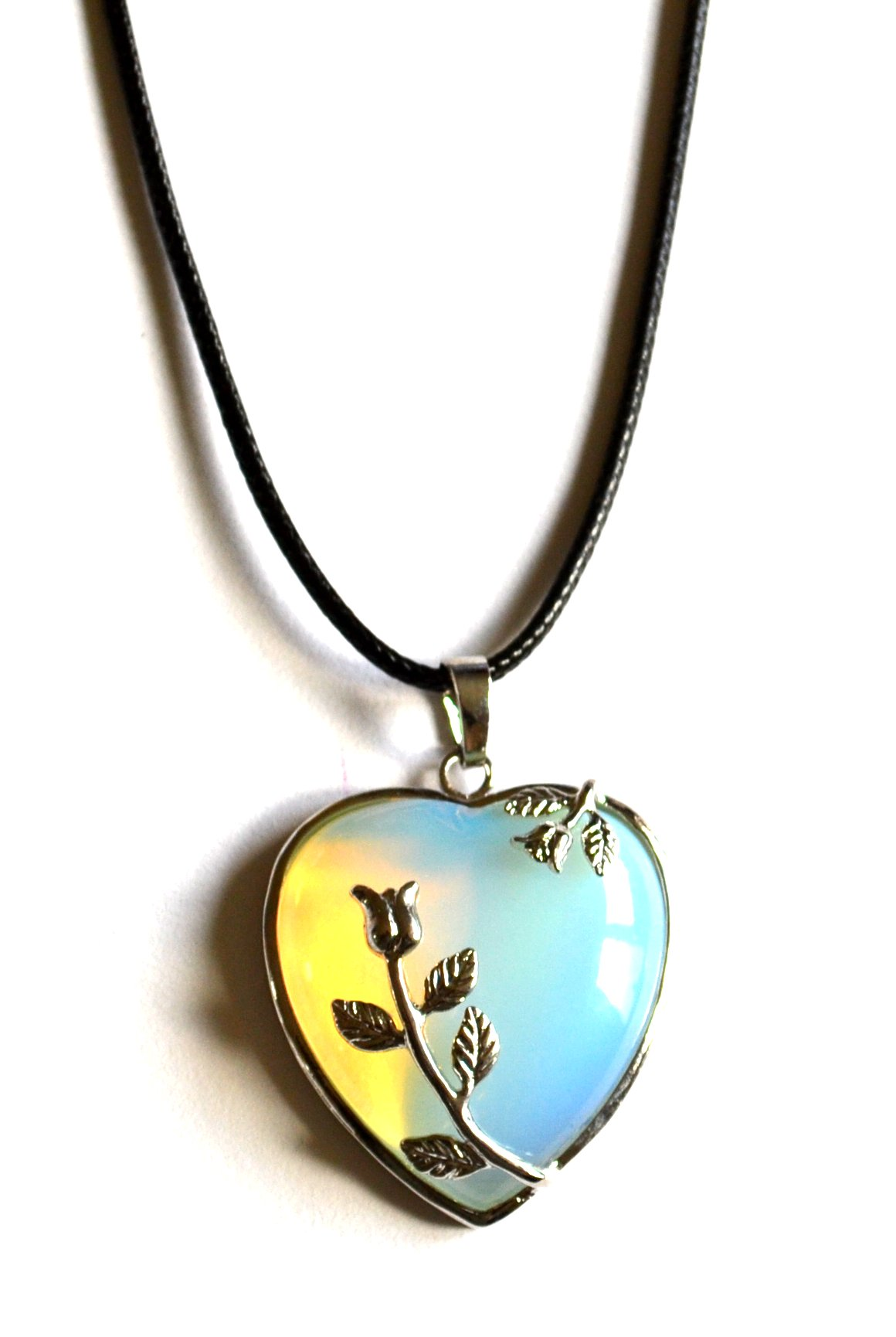 Opalite Heart Rose Pendant Necklace | Mystic Wish