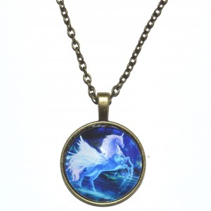 antique gold coloured chain unicorn necklace