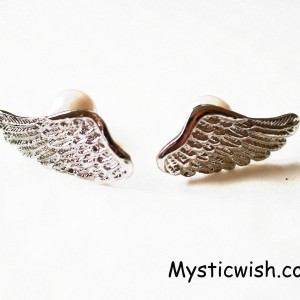 pearl and ange wing earrings