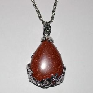 teardrop goldstone pendant