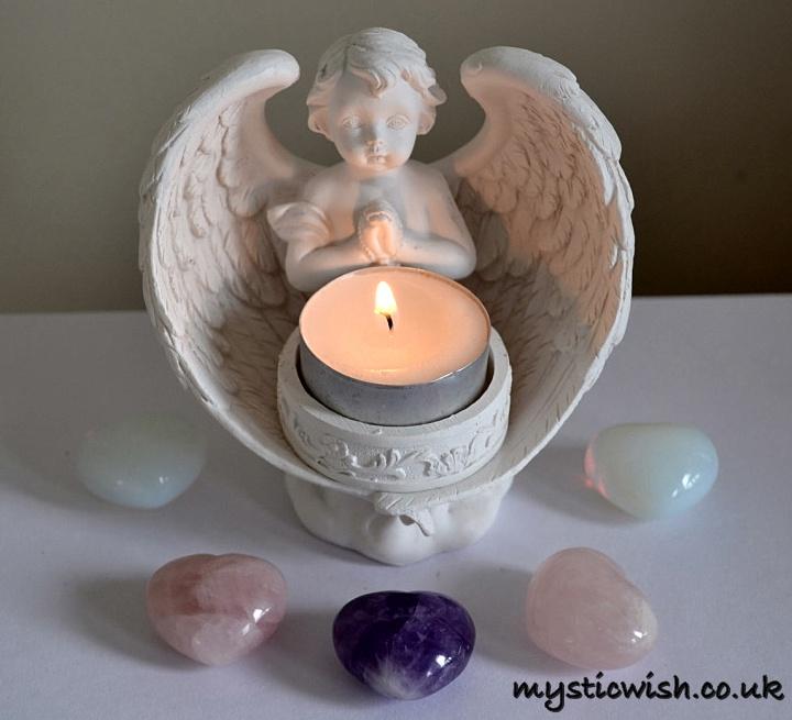 Angel Cherub Candle Tealight Holder Mystic Wish