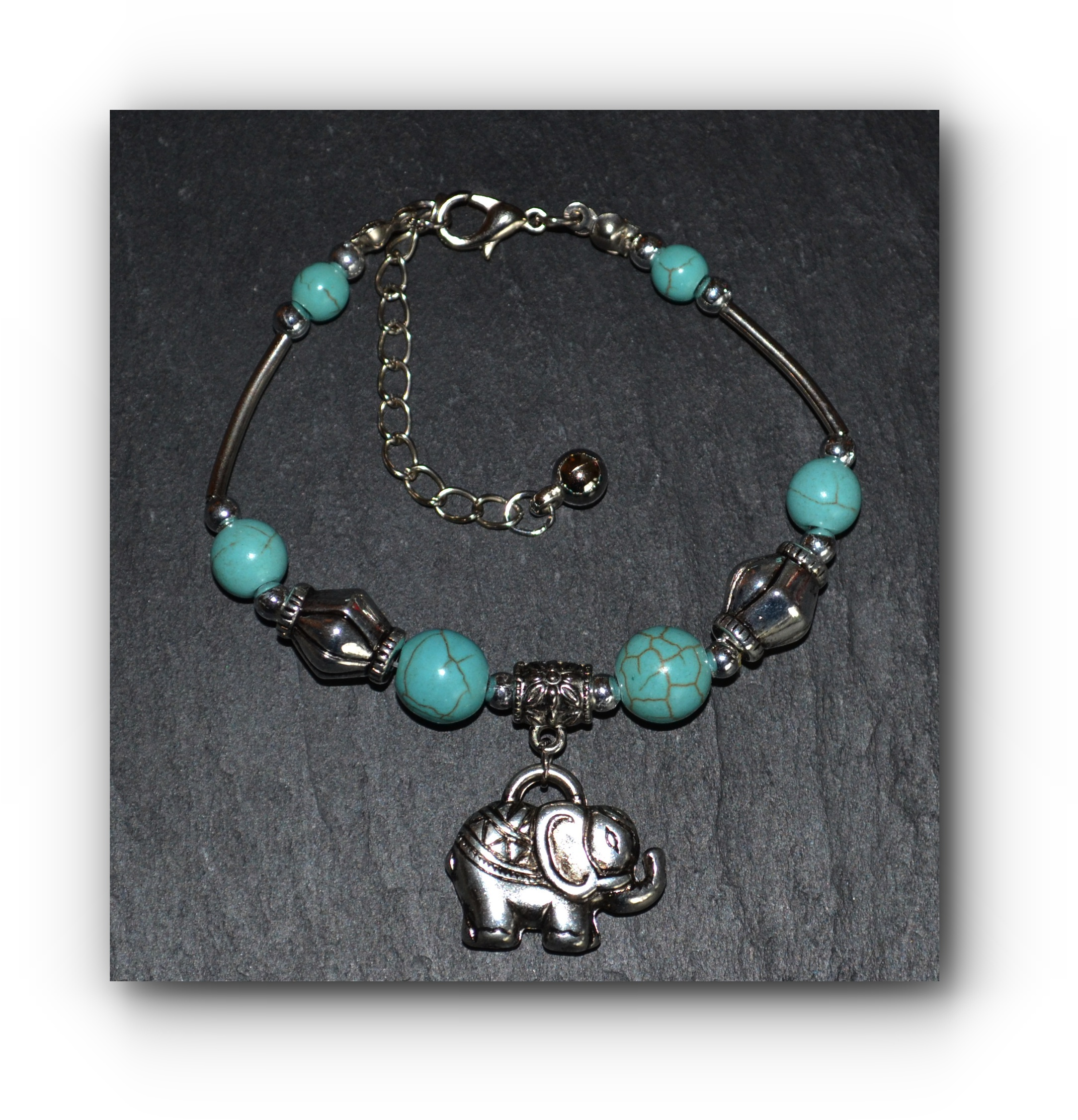 lucky elephant turquoise adjustable charm bracelet