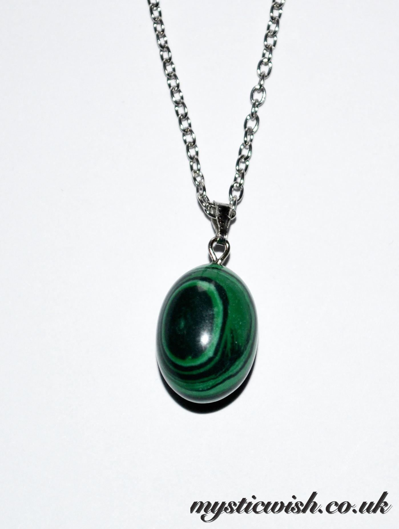 malachite oval pendant necklace spirituality mystic wish