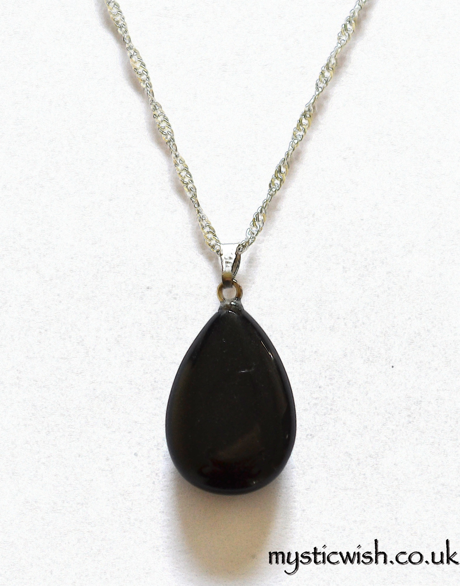 black obsidian teardrop pendant necklace negativity