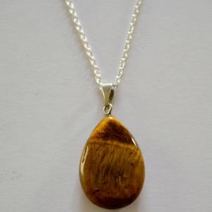 Tigerseye teardrop pendant necklace