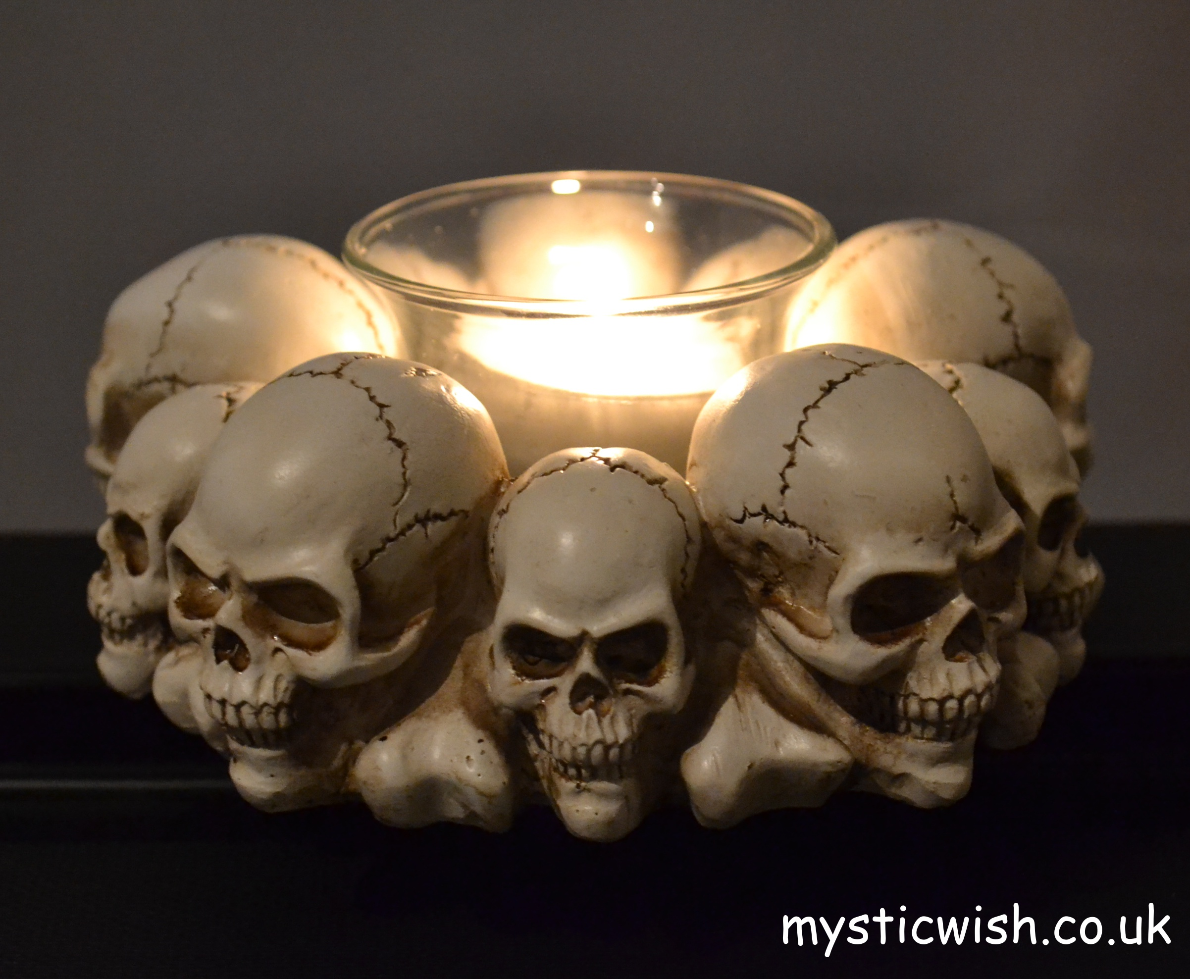 Skull Head Candle Holder Mystic Wish