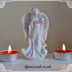 White and pink garland angel