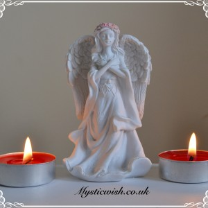 white and pink angel cross my heart