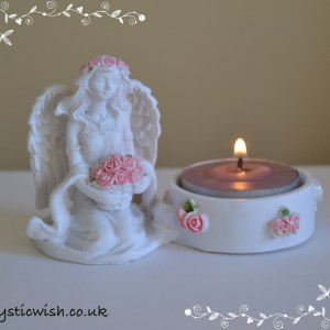 tealight holder flower basket angel