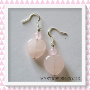 heart earrings rose quartz