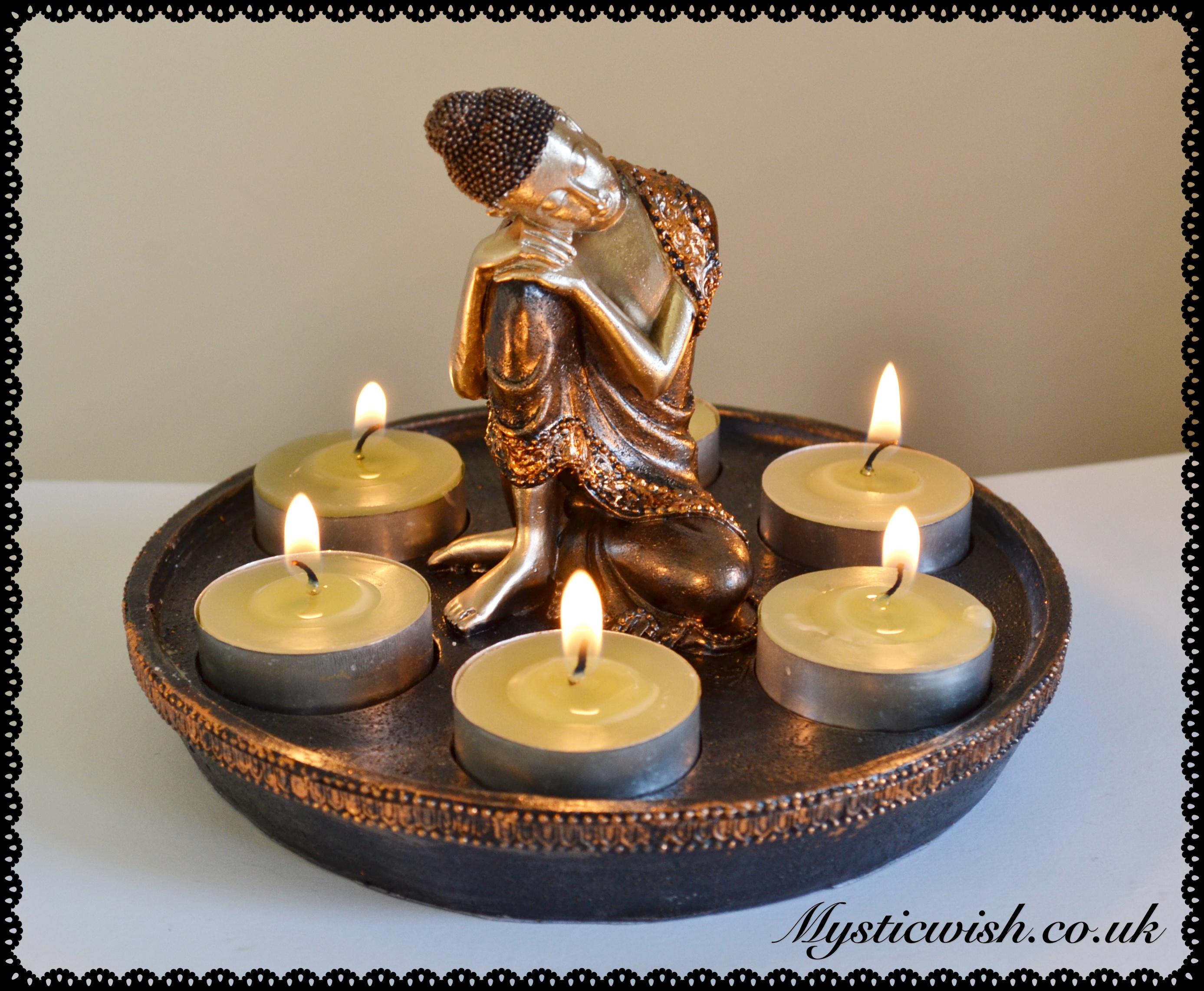 Large Buddha 6 Candle Tea Light Holder Mystic Wish