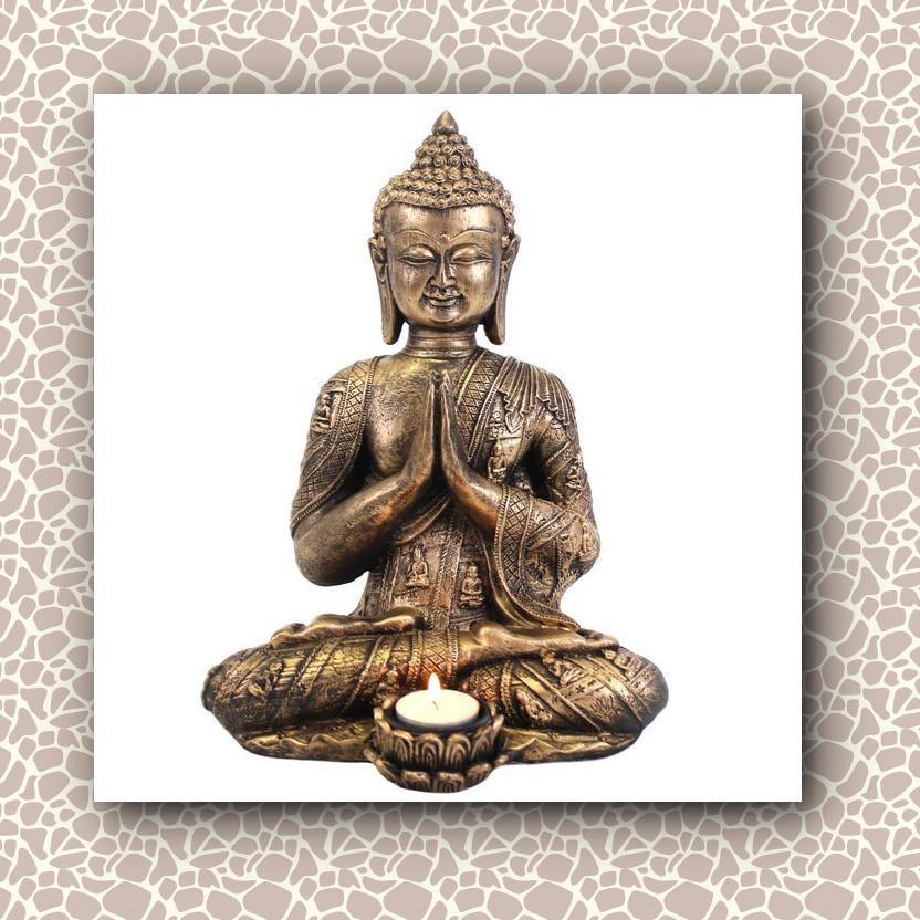 Large Praying Gold Buddha Candle Holder Mystic Wish
