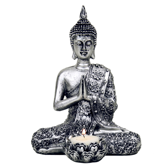 Silver Buddha Tea Light Candle Holder Mystic Wish