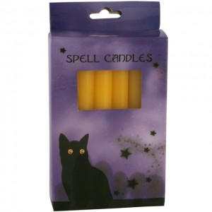 box of yellow spell candles