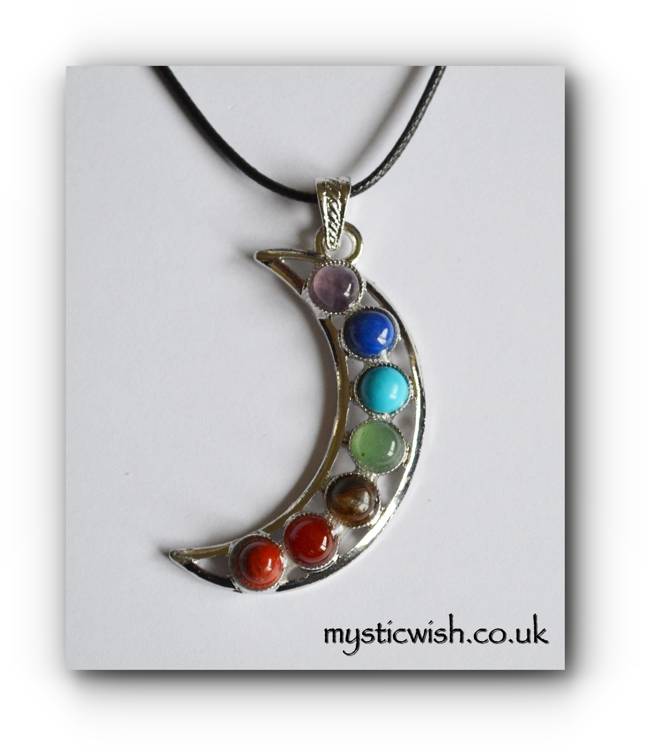 Chakra Moon Pendant Necklace Mystic Wish