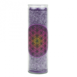 Candle purple glass flower of life