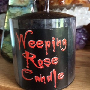 Rose weeping candle.