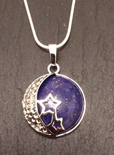 Lapis lazuli moon stars pendant psychicchanneling mystic wish lapis lazuli moon stars pendant psychicchanneling aloadofball Image collections
