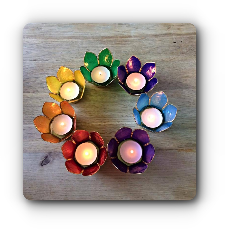 Set Of 7 Chakra Candle Holders Mystic Wish