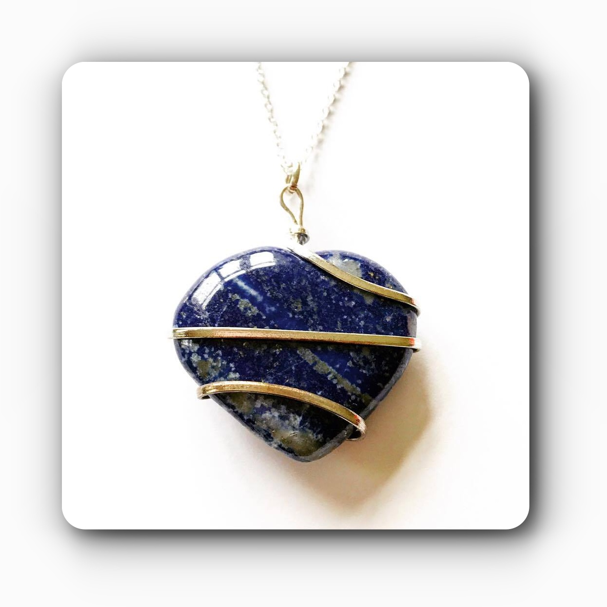 Heart Wired Lapis Pendant Psychic Channeling Mystic Wish