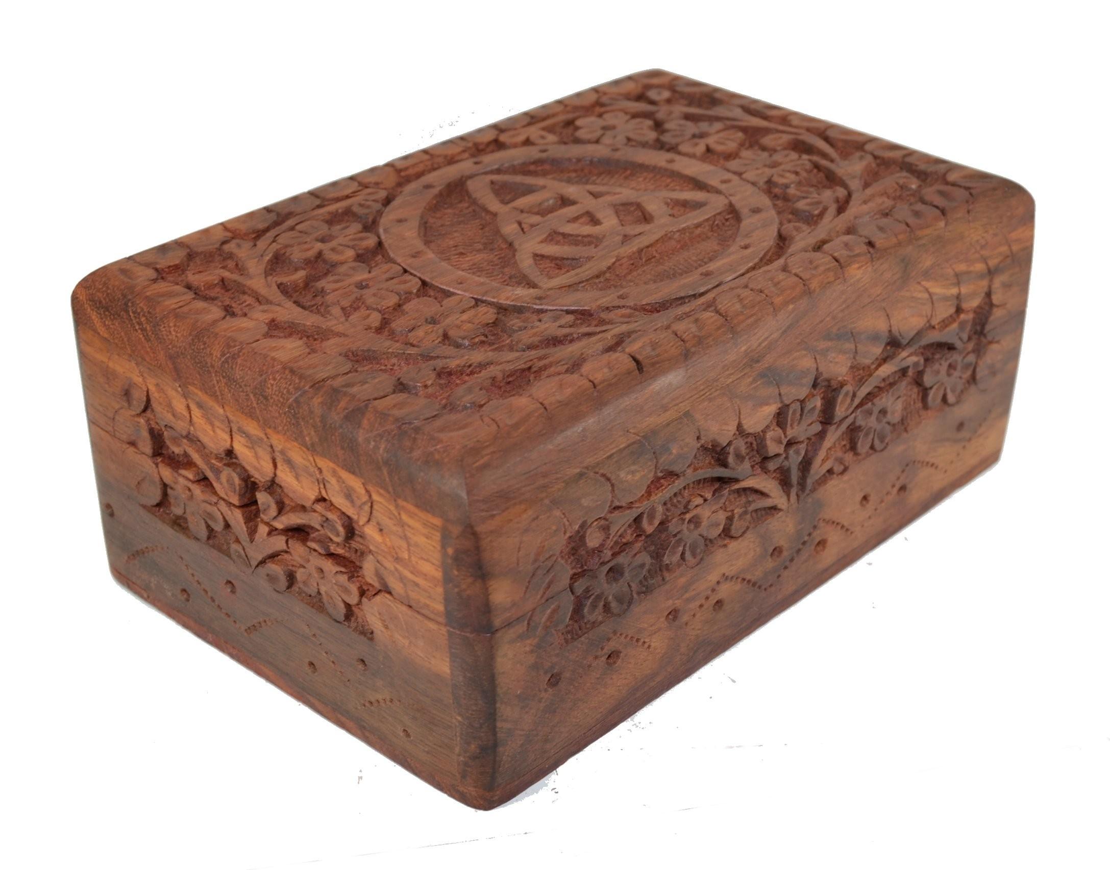 Wooden Triquetra Tarot Card Box Mystic Wish