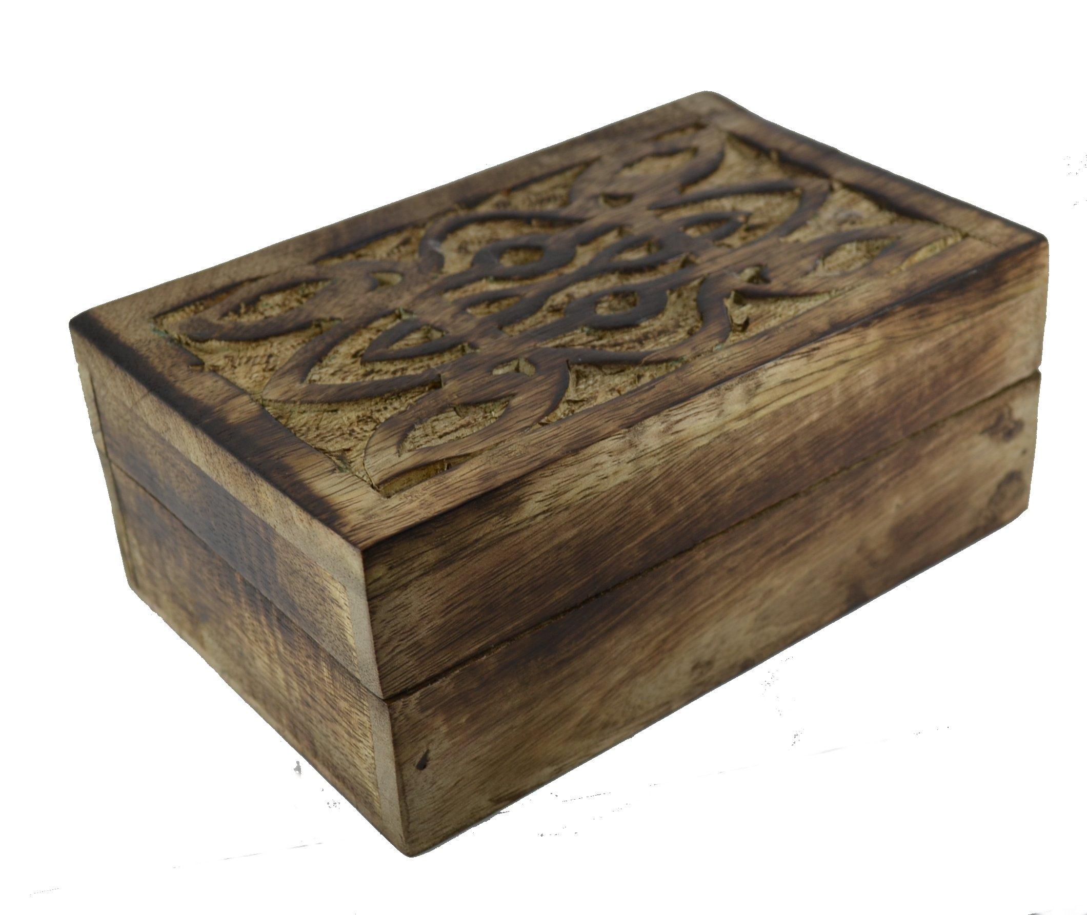 Decorative Recipe Box 2: Mango Wood Tarot Card Box Decorative Celtic Lattice Lid