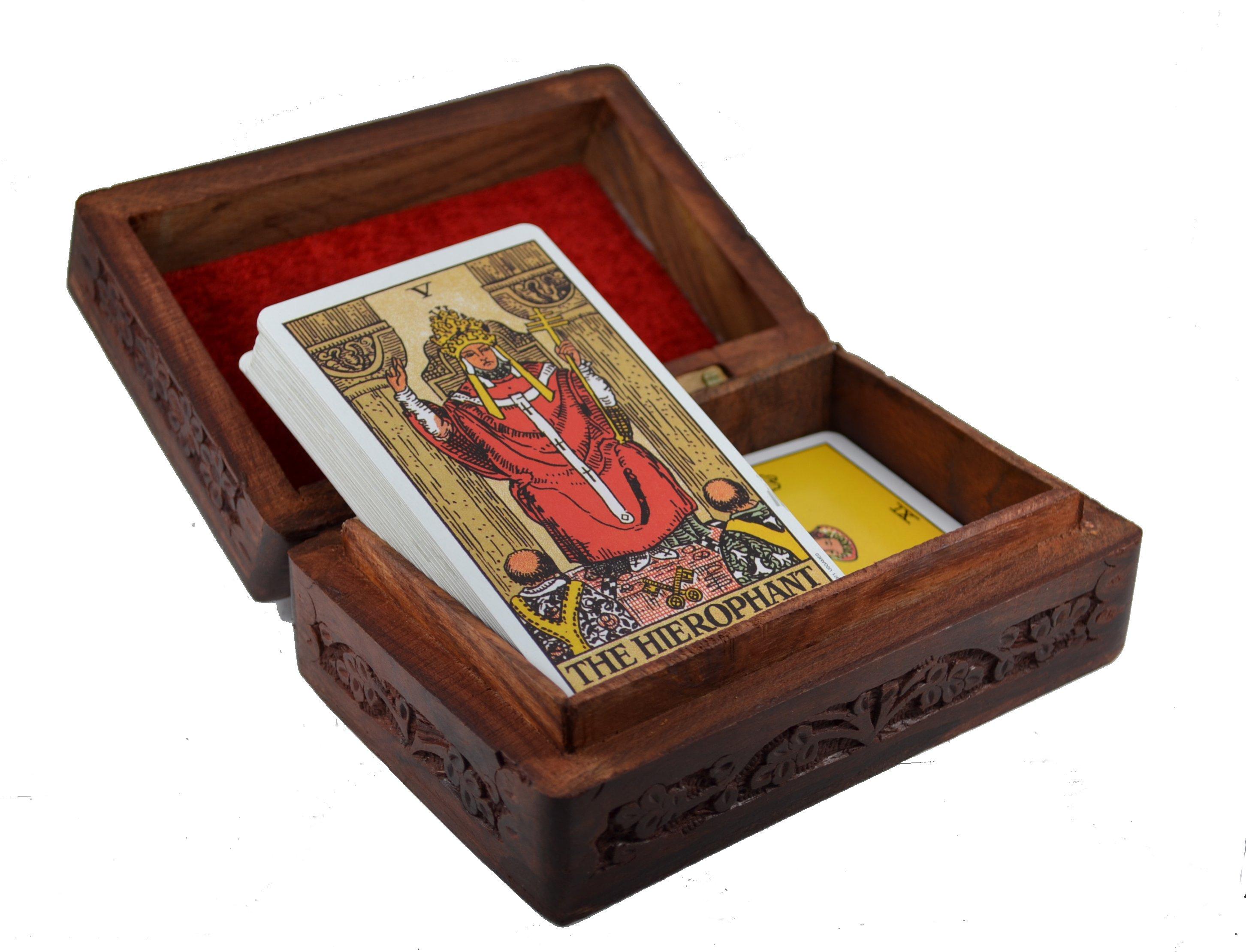 Wooden Tarot Box Ying Yang Symbol Mystic Wish