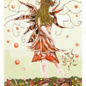 autumn fairy greetings card