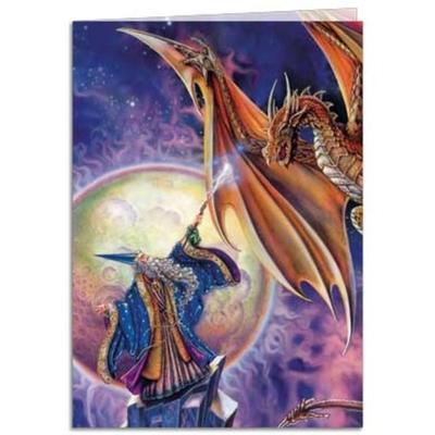 wizard dragon magic greetings card tree free mystic wish