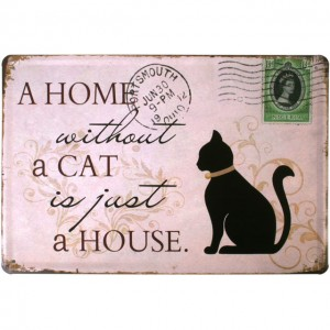 cat home wall plaque