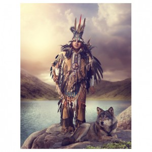spirit path wolf greetings card