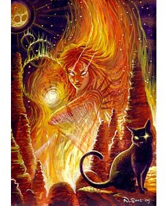 fire goddess greetings card